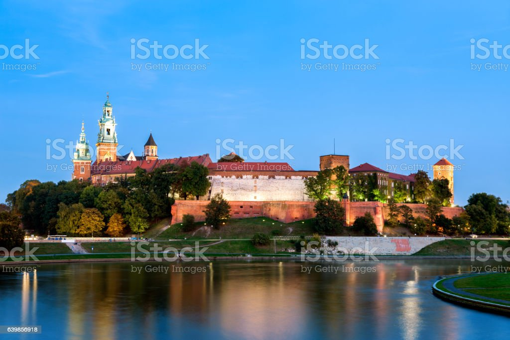 Old Town of Cracow at dusk, Poland stock photo