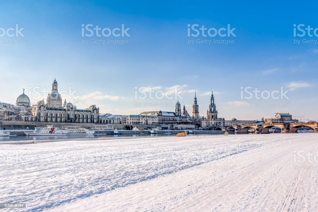 Old town of Dresden in winter stock photo
