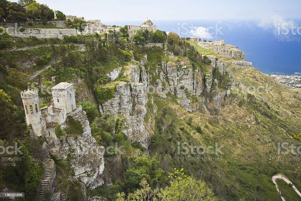 Old town of Erice on Sicily (Italy) stock photo