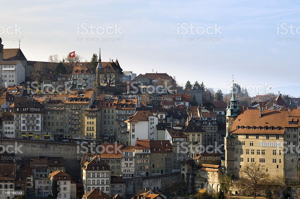 Old Town of Fribourg stock photo