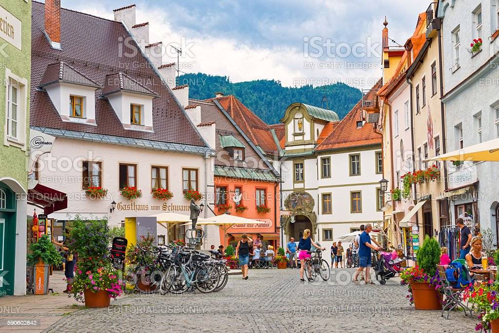 Old town of Fussen stock photo