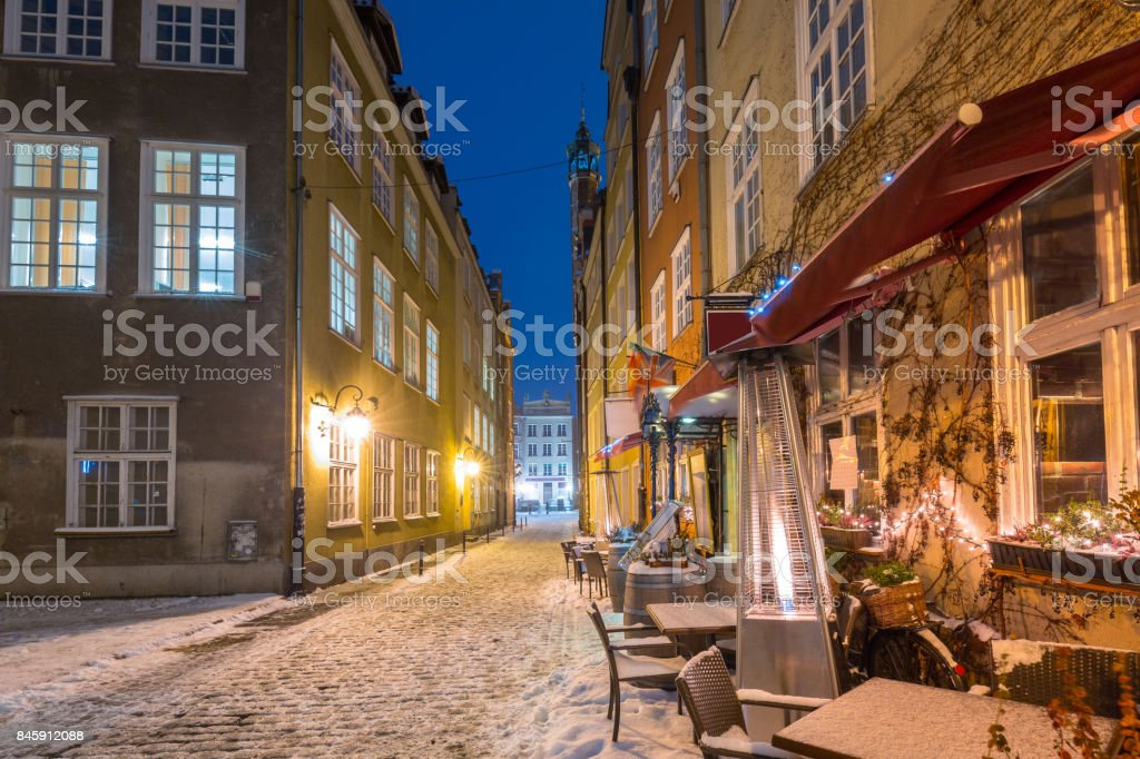 Old town of Gdansk in snowy winter stock photo