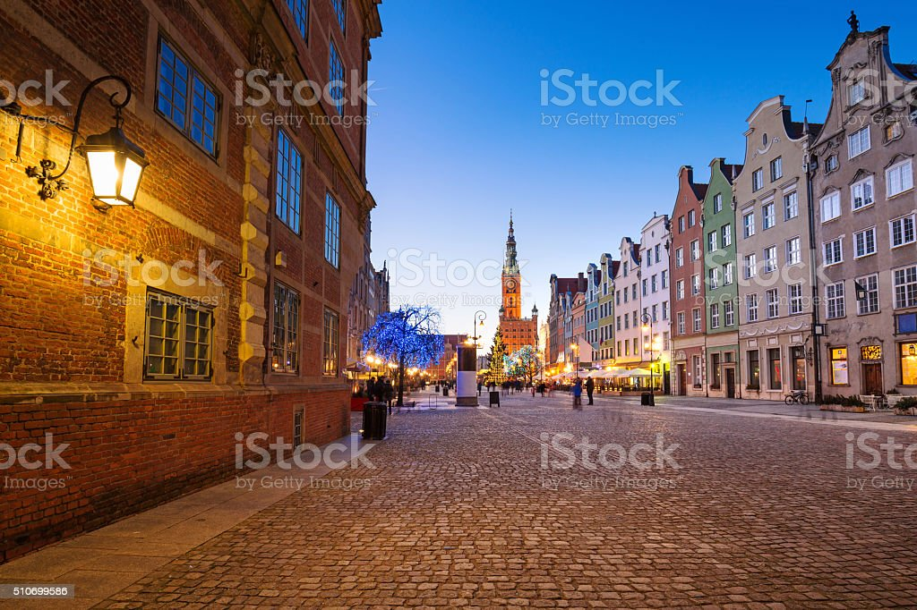 Old town of Gdansk in winter scenery stock photo