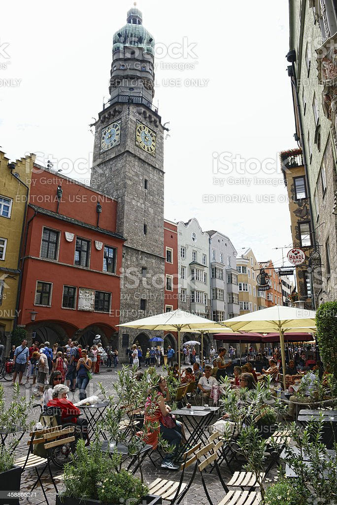 old town of Innsbruck with restaurants stock photo