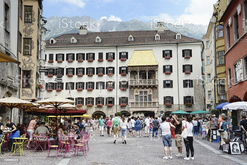 old town of Innsbruck with the Golden Roof house stock photo