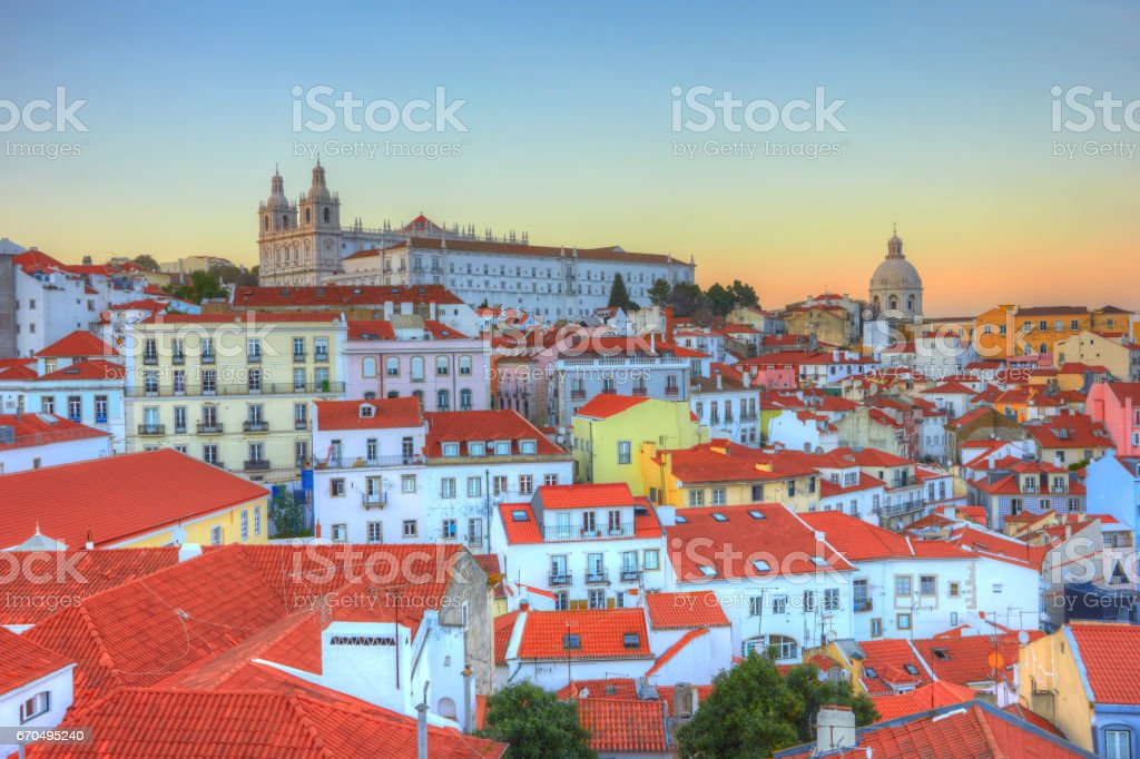 Old Town of Lisbon in the sunset. Portugal stock photo