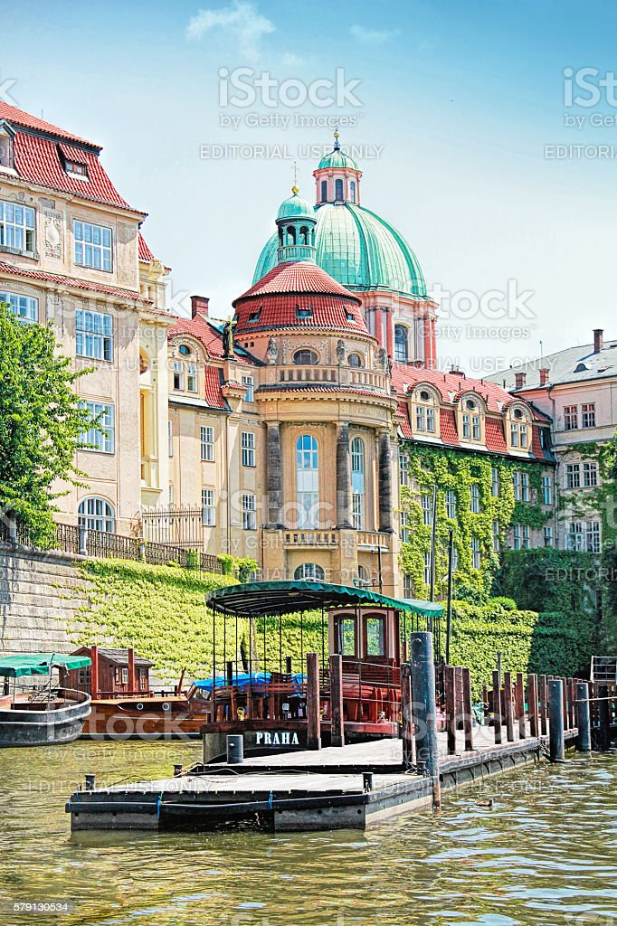 Old town of Prague, Czech Republic from the boat stock photo