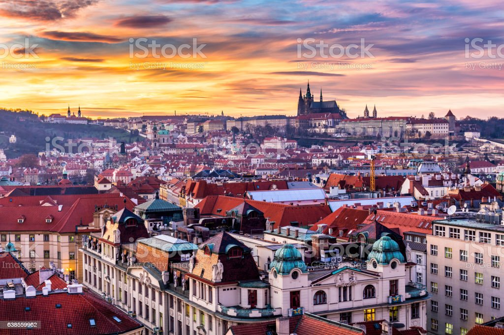 Old Town of Prague (Czech Republic) in sunset. stock photo
