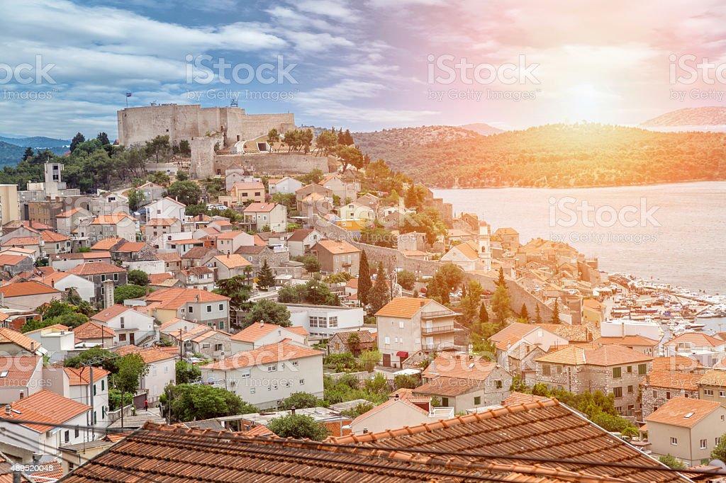 Old town of Sibenik in Croatia stock photo