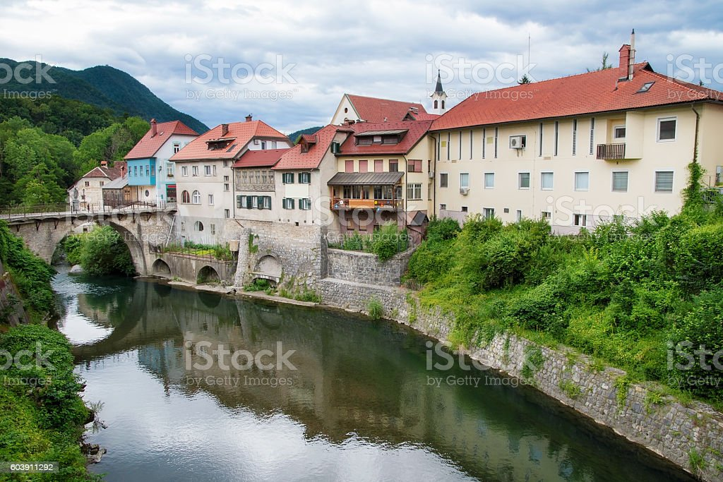 Old town of Skofja Loka with river, Slovenia stock photo