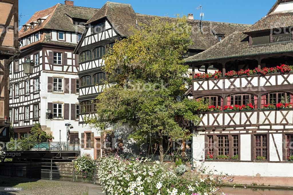 Old town of Strasbourg: Half-timbered houses in the quarter La-Petite-France stock photo