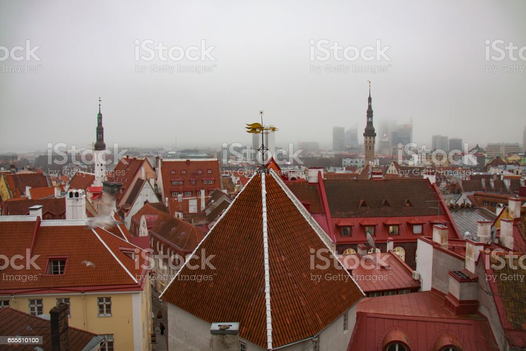 Old town of Tallinn overview on a foggy day stock photo