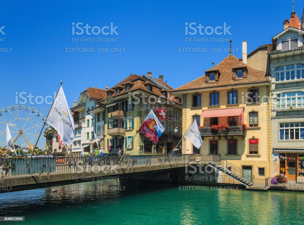 Old town of the city of Thun in Switzerland stock photo