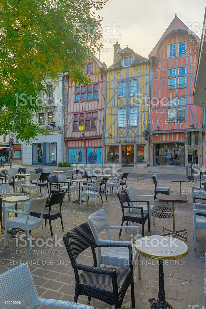 Old town of Troyes stock photo