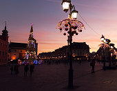 Old Town of Warsaw in Poland illuminated at evening, Christmas