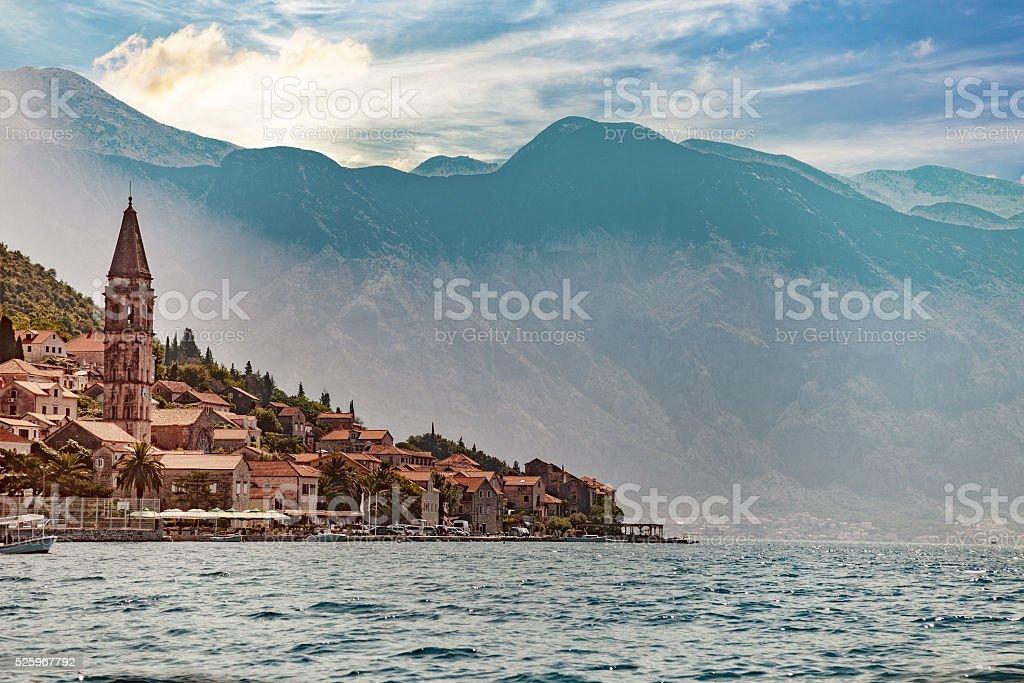Old town on coast of Montenegro stock photo