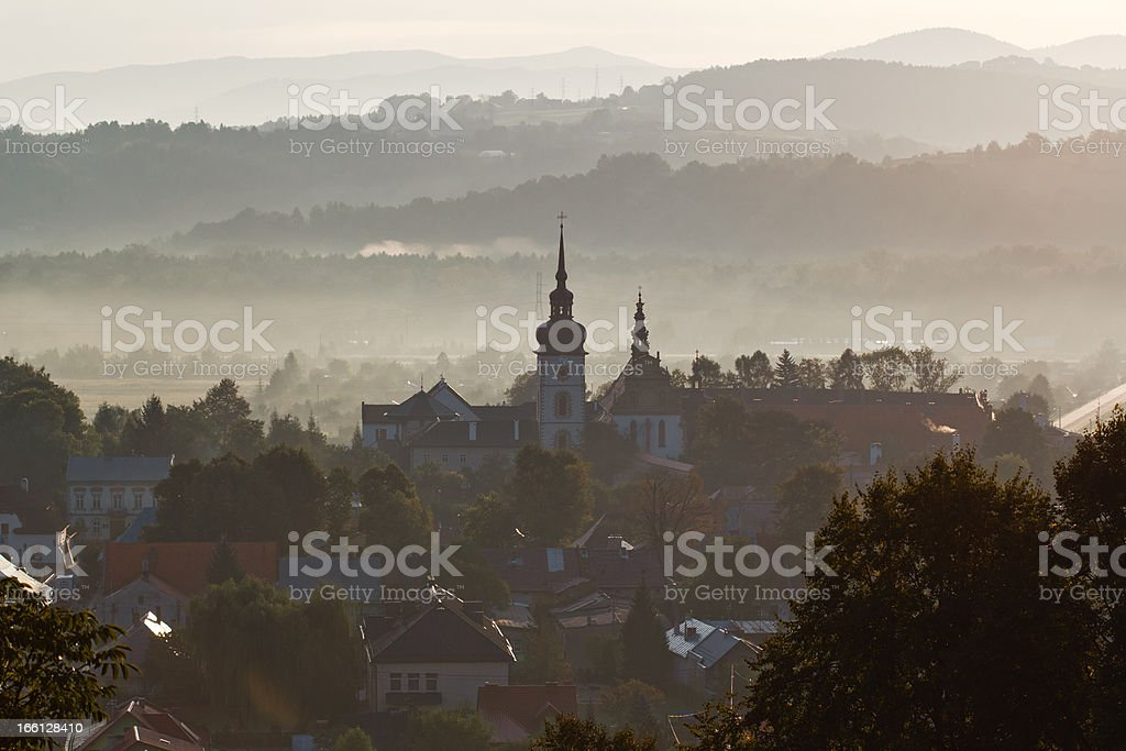 Old town part of Stary Sacz at sunrise royalty-free stock photo