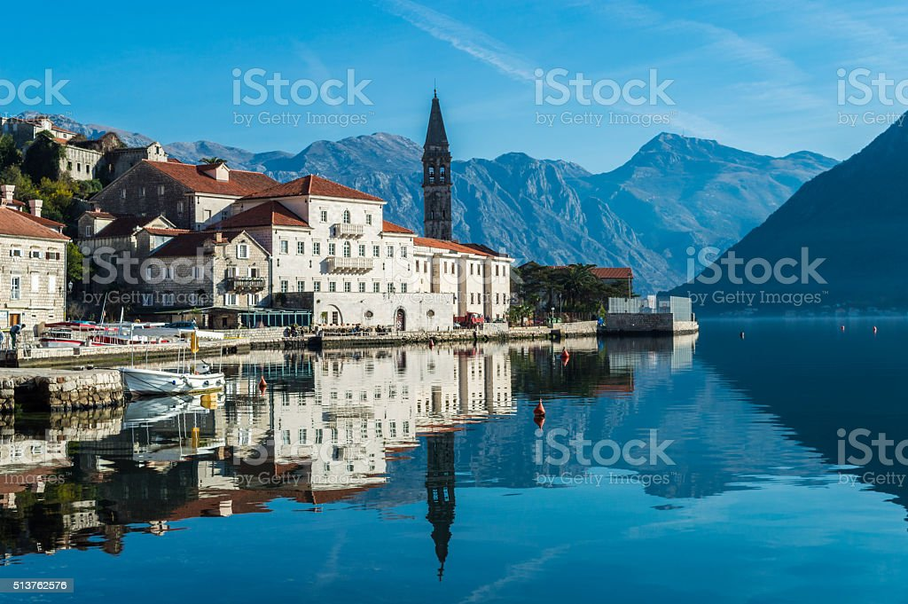 Old town Perast stock photo