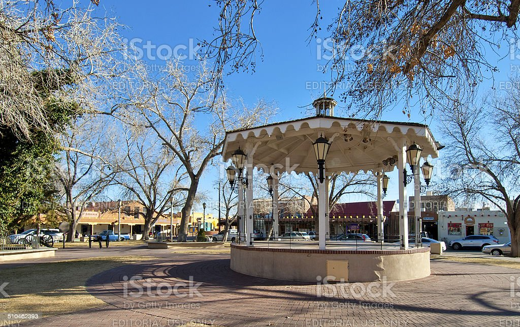 Old Town Plaza with Gazebo stock photo