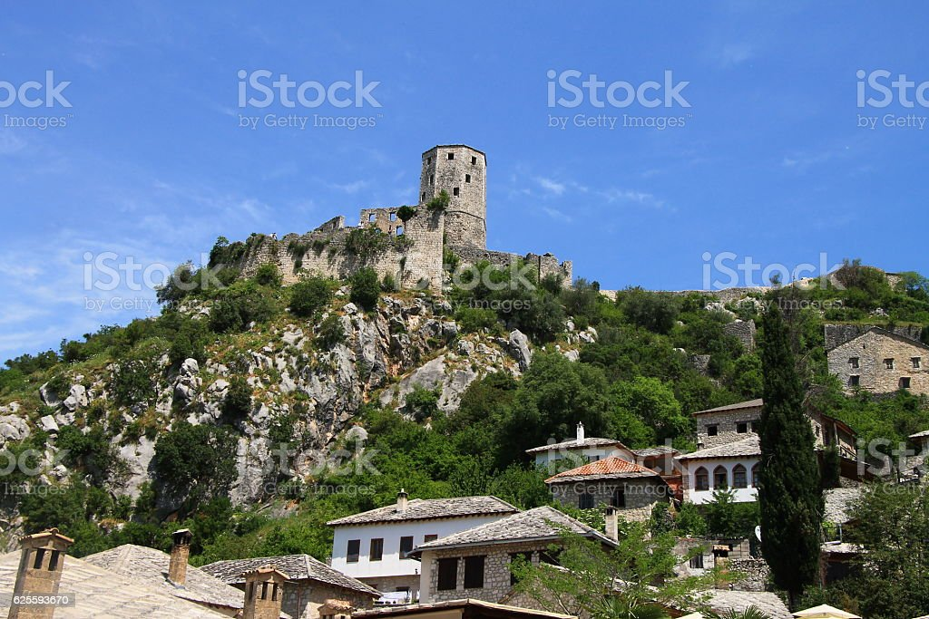 Old town Pocitelj near the Mostar , Bosnia and Herzegovina stock photo