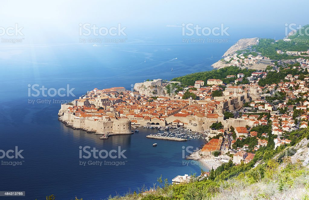Old town, port and fortress walls stock photo