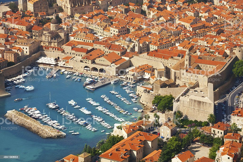 Old town port from above stock photo