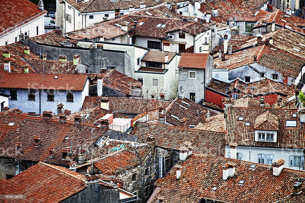 old town roofs stock photo