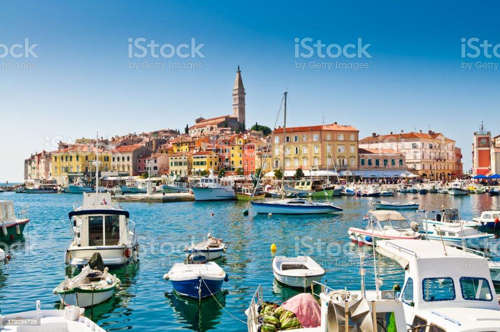 Old town, Rovinj Harbor, Croatia stock photo