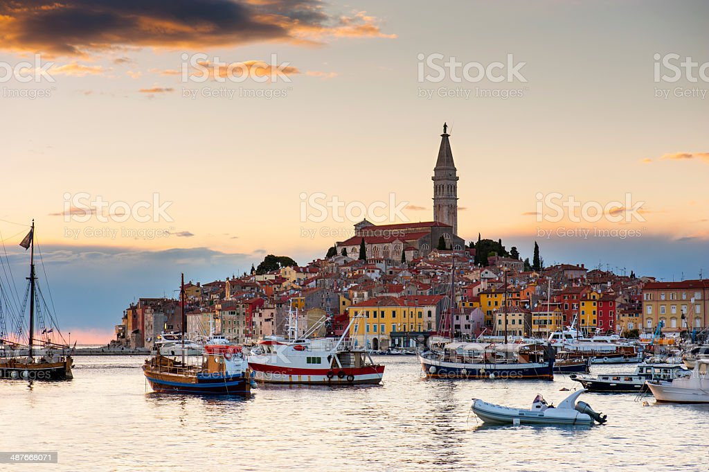 Old town, Rovinj Harbor, Croatia stock photo