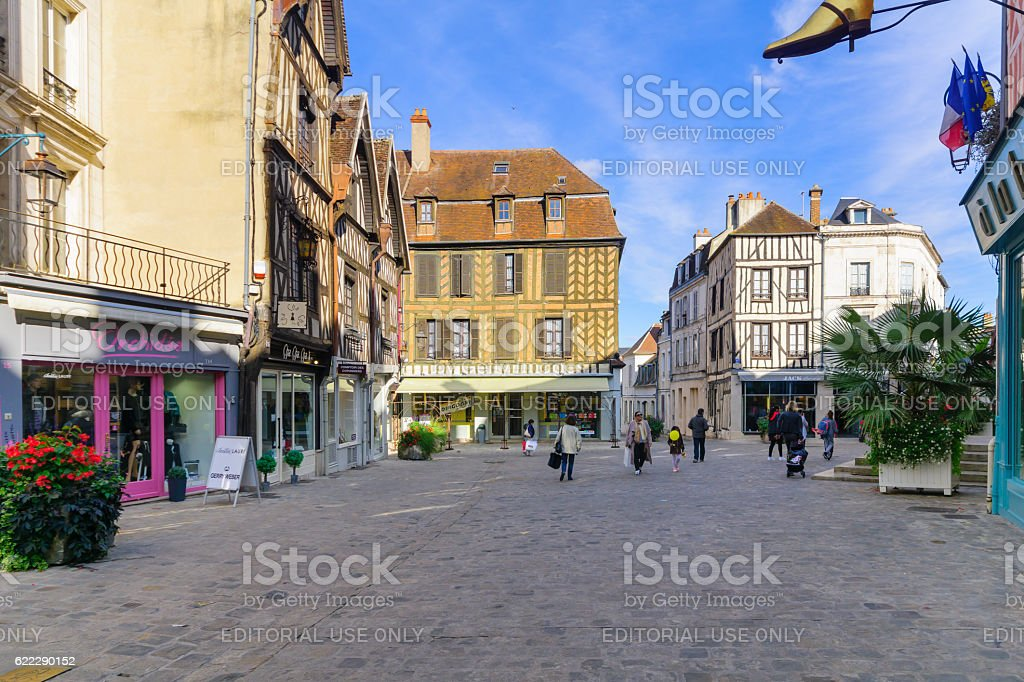 Old town scene in Auxerre stock photo