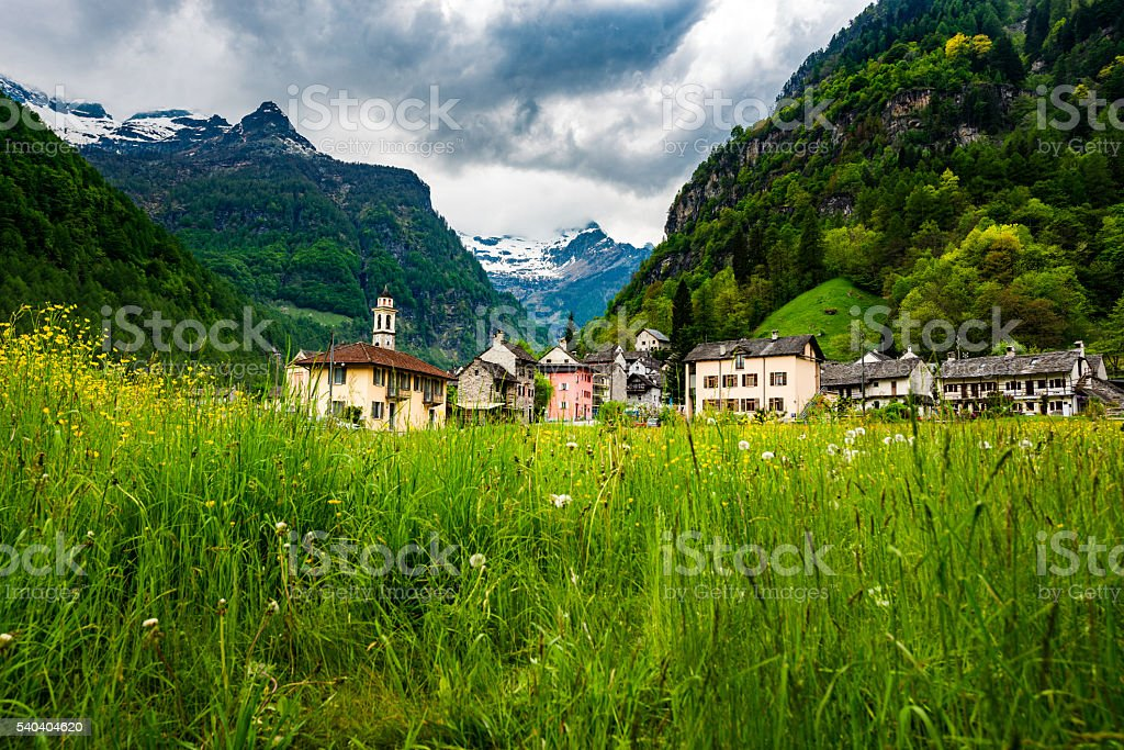 old town Sonogno in valley verzasca in Switzerland stock photo