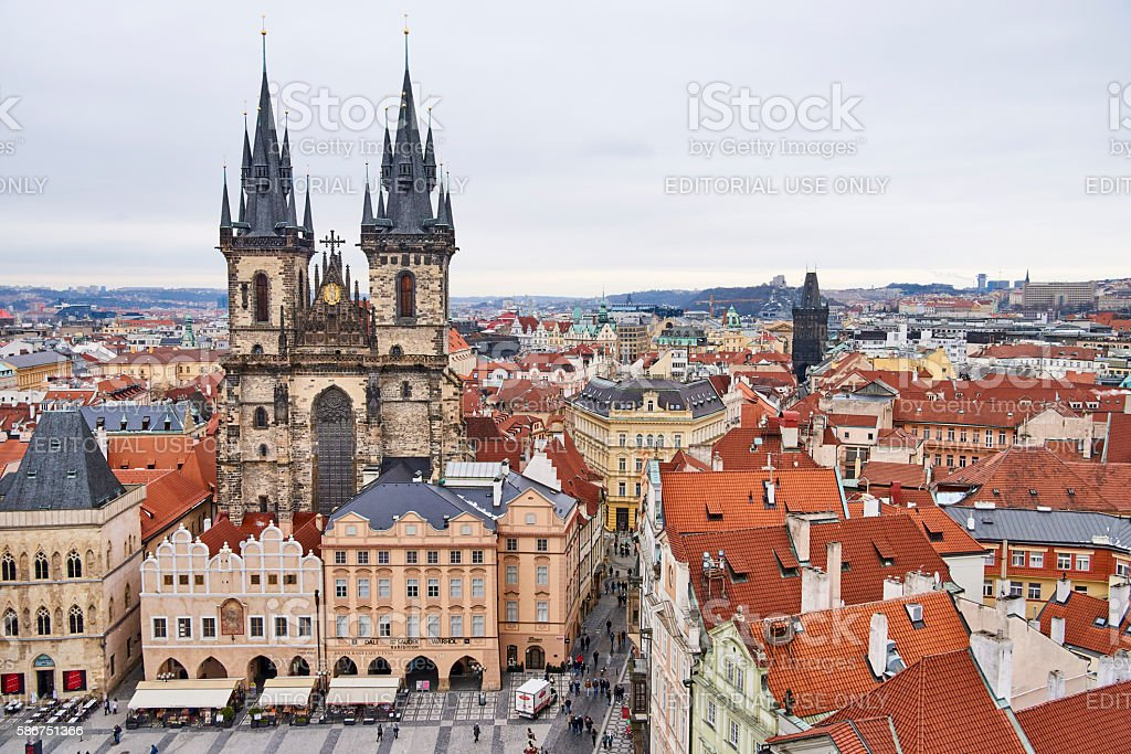 Old Town Square and Church of Our Lady Before Tyn stock photo