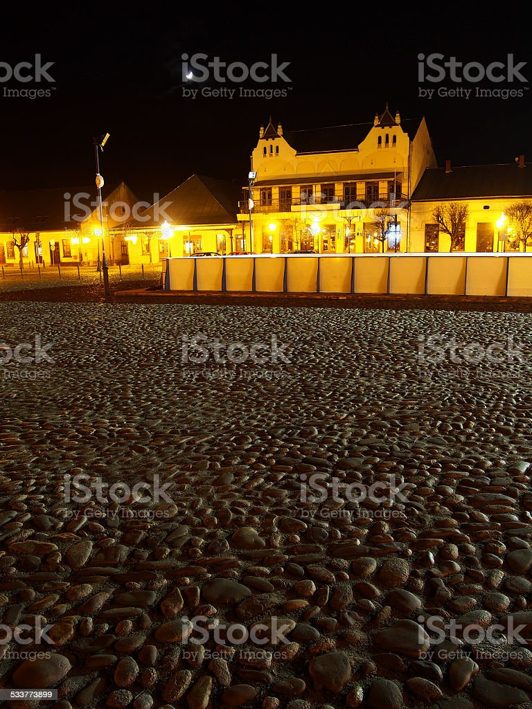 Old Town Square at night in Christmas time stock photo