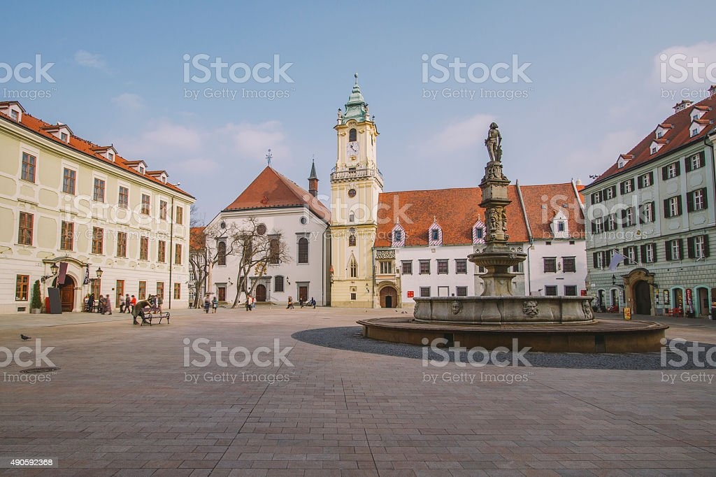 Old town square, Bratislava stock photo