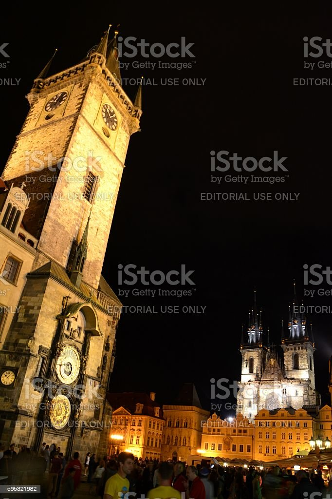 Old town square by night, Prague, Czech Republic stock photo