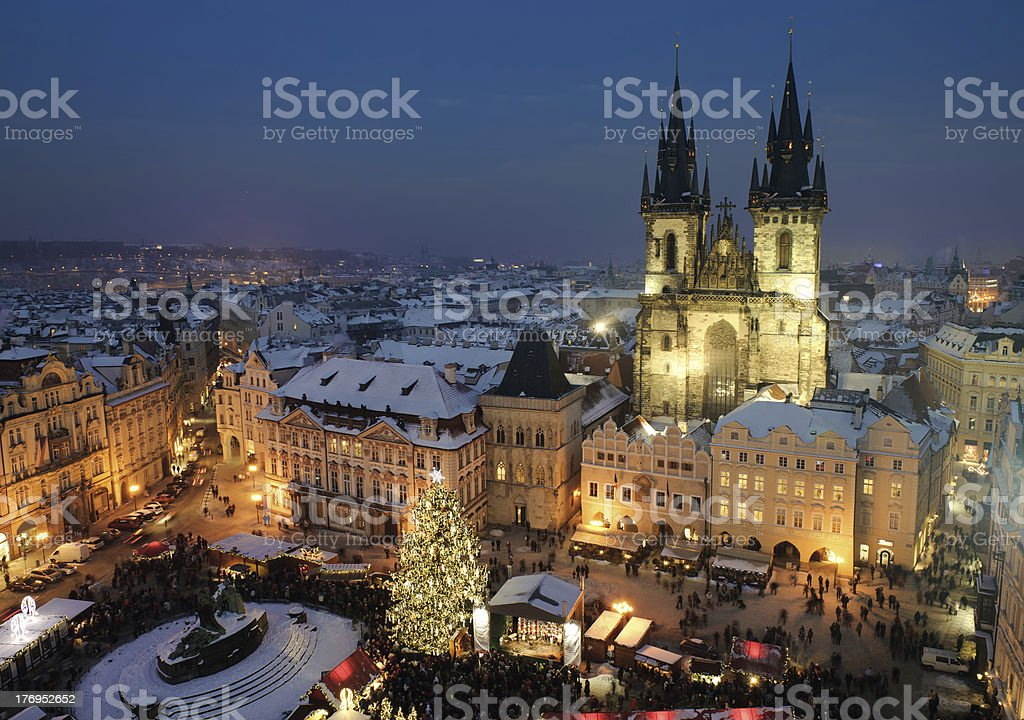 Old town square in Prague at Christmas time royalty-free stock photo