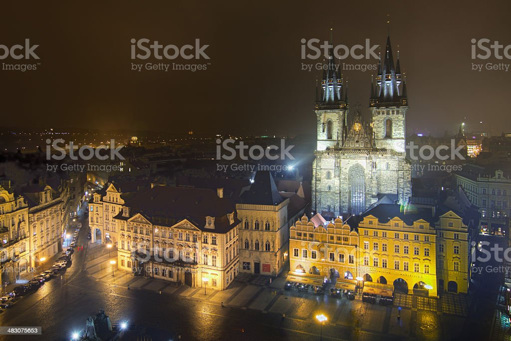Old Town Square in Prague at night stock photo