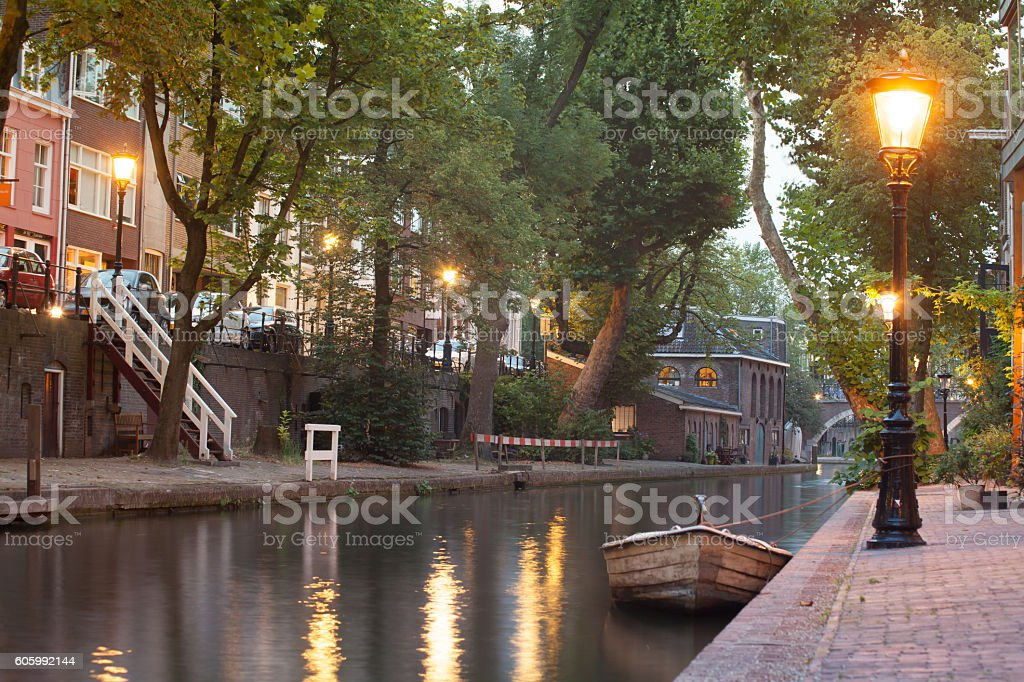Old town square in Utrecht stock photo