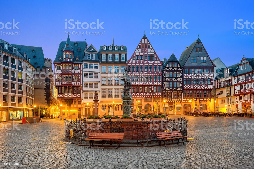 Old town square romerberg in Frankfurt Germany stock photo