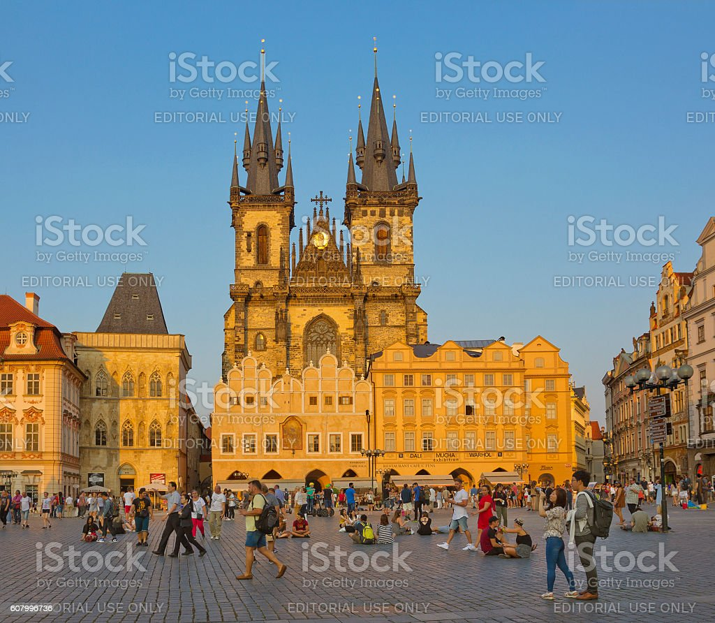 Old Town Square with Church Prague, Czech Republic stock photo