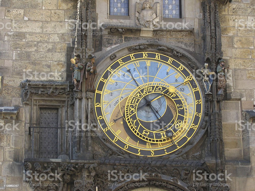 Old Town Square's clock. royalty-free stock photo