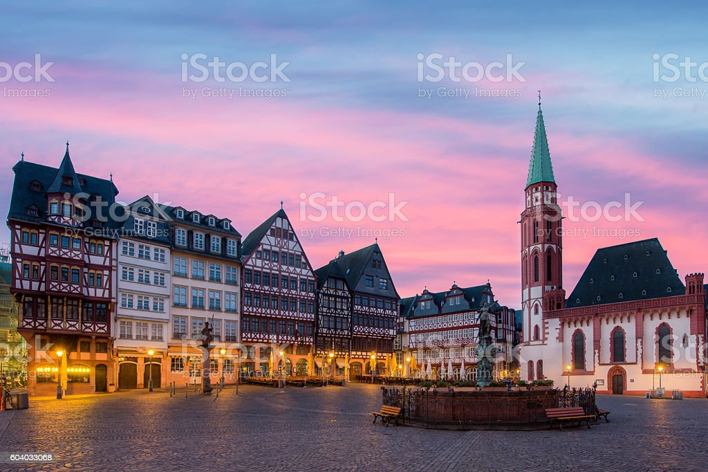 Old town squarewith Justitia statue in Frankfurt, Germany stock photo