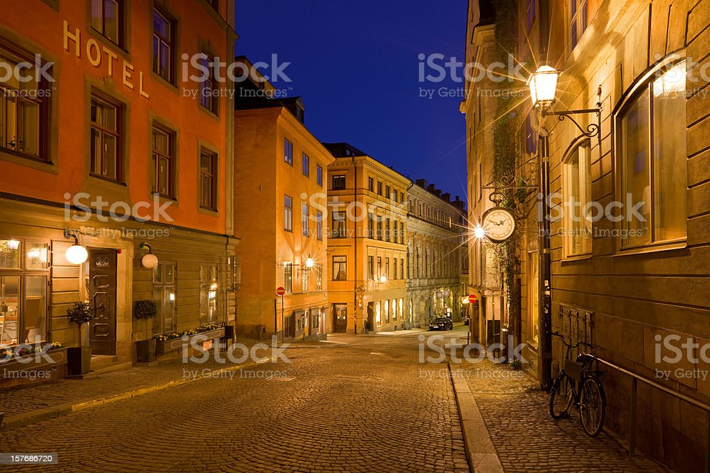 Old Town Stockholm Sweden Illuminated Street royalty-free stock photo