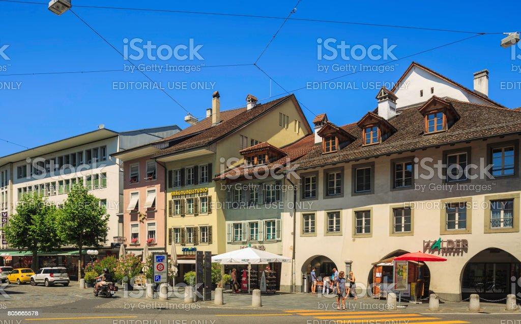 Old town street in the city of Thun, Switzerland stock photo