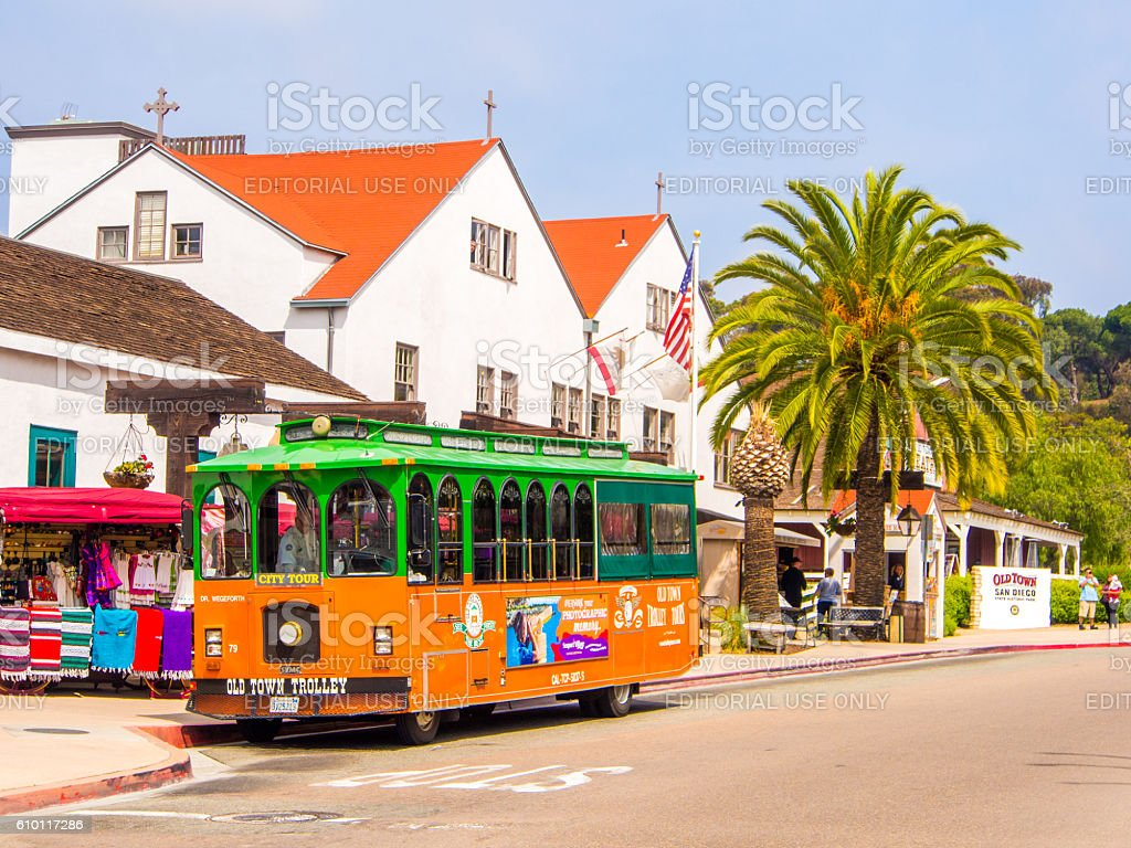 Old Town Trolley in San Diego, USA stock photo