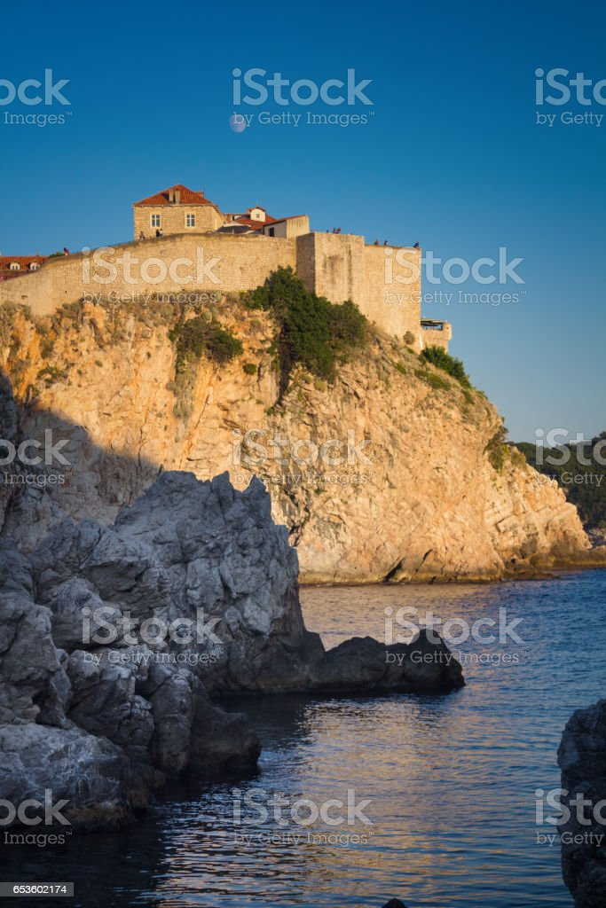 Old town wall of Dubrovnik stock photo