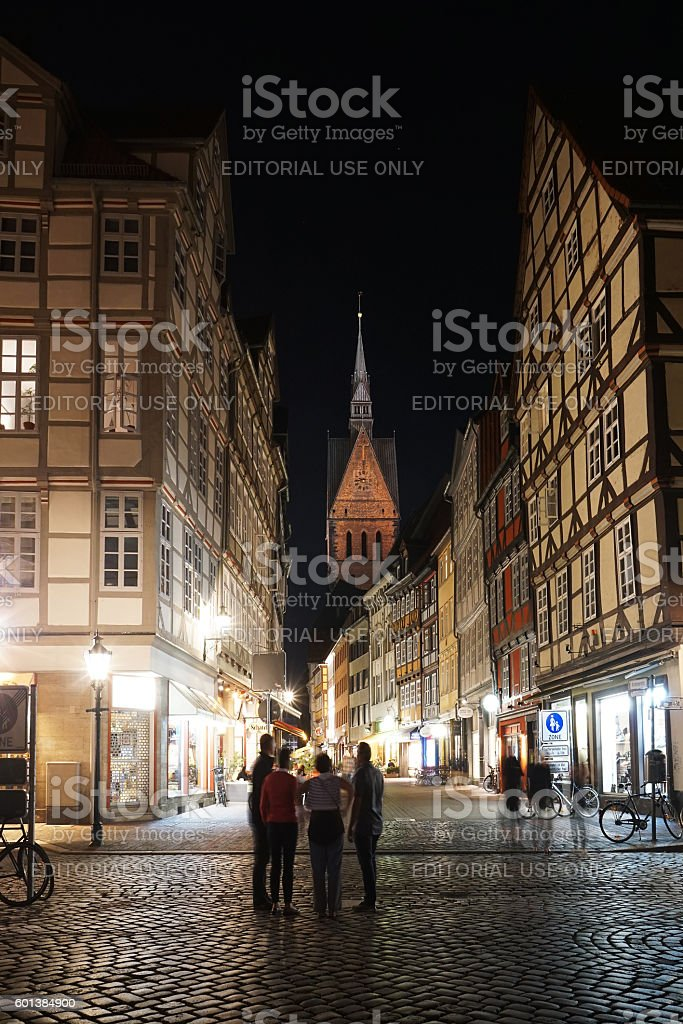 old town with market church in Hannover Germany stock photo