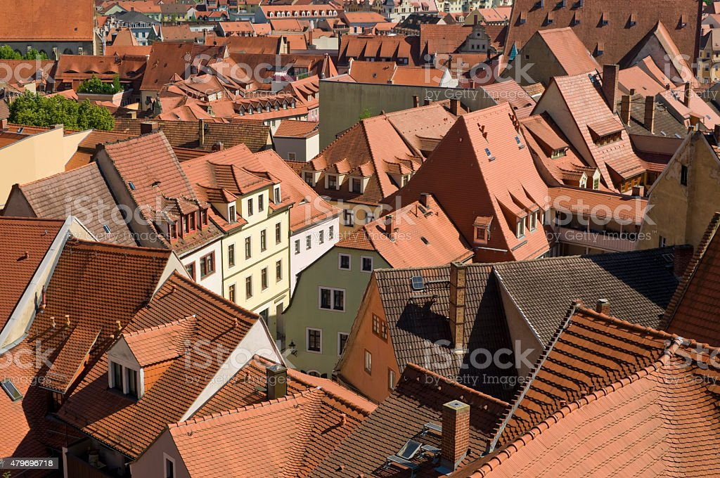 Old town with red tile roofs stock photo