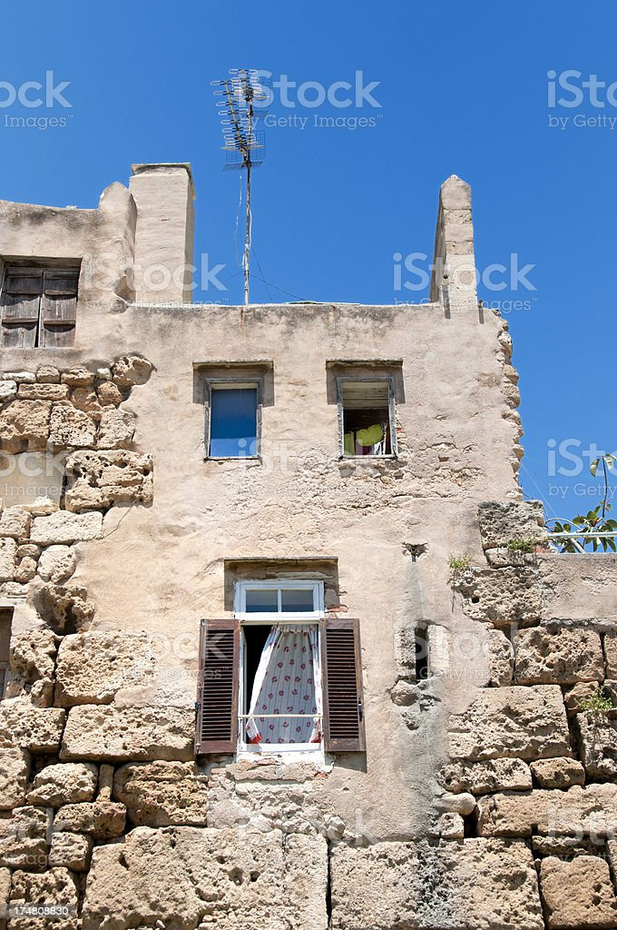 old townhouse in Rethymnon Crete Greece royalty-free stock photo