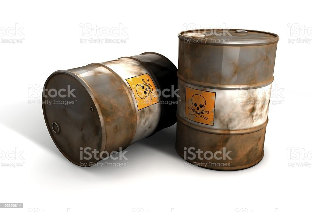 Old toxic wast Barrels stock photo